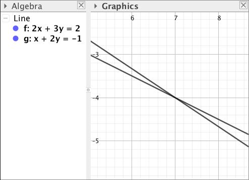 yhtälöparin ratkaiseminen geogebralla